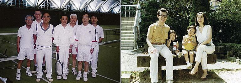 左:血液学会 テニス部の仲間たちと(1980年代、左から2人目が鈴木氏)。いまでもテニスはよい気分転換になっている。右:31歳のときの家族写真(1982年)。この後、次女が産まれ5人家族に。