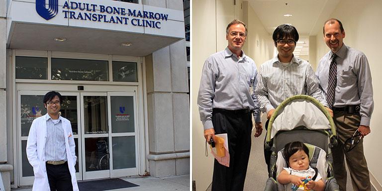 左:デューク大学留学中。Adult Bone Marrow Transplant Clinicの外来にて。 右:左がハプロ移植の師匠である Rizzieri先生、右が複数臍帯血移植の師匠である Horwitz先生。手前は当時0歳の息子。