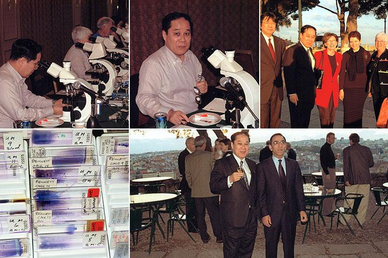 国際MDS形態標準化グループのポルトガル・リスボンにおける顕微鏡カンファランス風景(2005年3月)。上左:顕微鏡観察中の各国代表、上中:私、上右:埼玉医大の陣内逸郎先生(一番左)と、下左:100例を超える骨髄標本、下右:Mufti教授(King's College病院)と私。